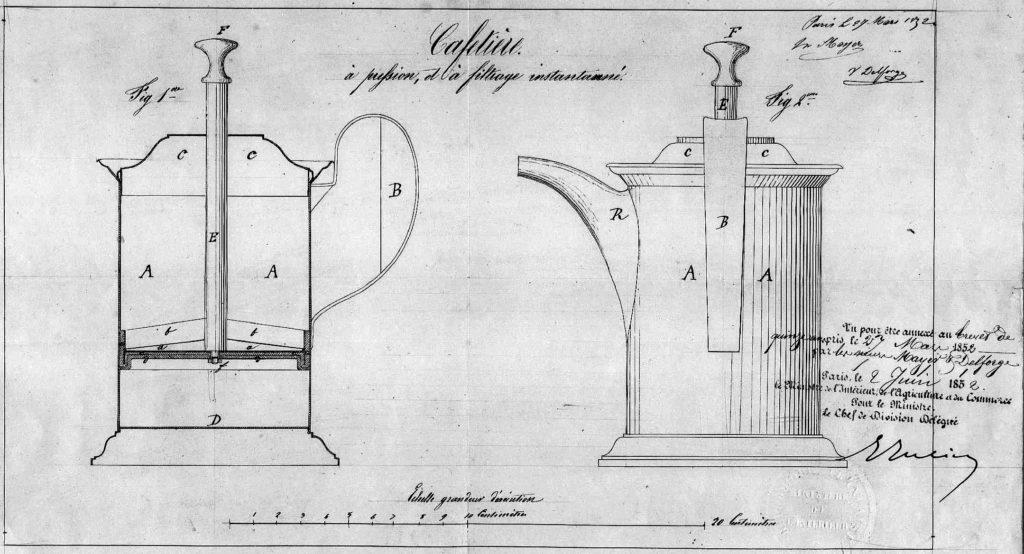 brevet cafetière à piston 1852 déposé par Mayer et Delforge