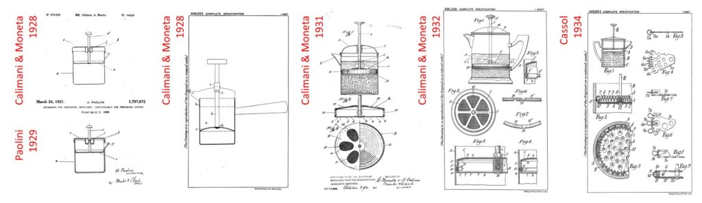 succession de brevets italiens pour la french press