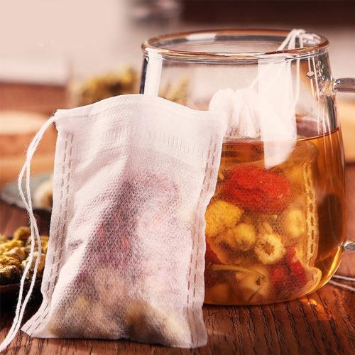 filtres à thé rempli
