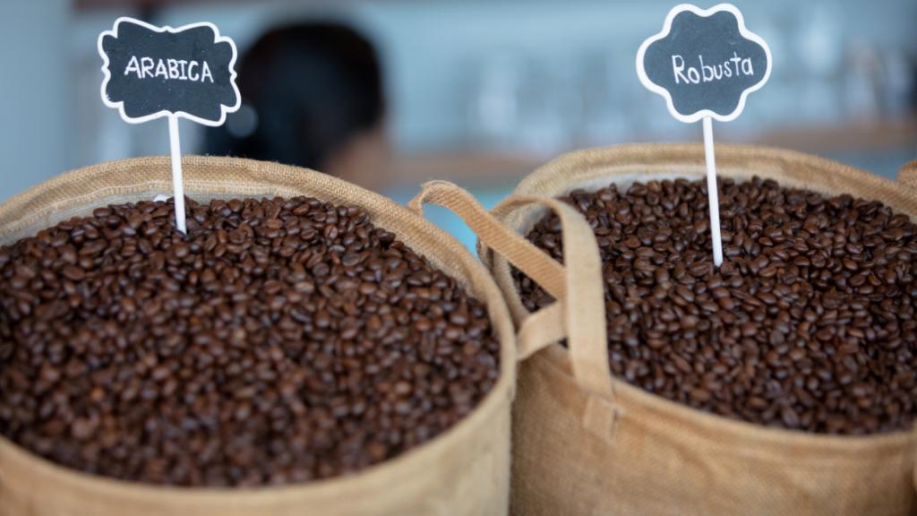 sacs de café arabica et robusta