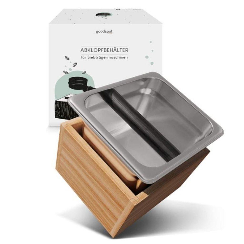 poubelle pour marc de café en inox et bois