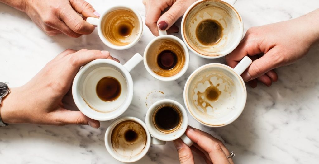 tasses de café vides